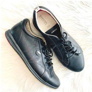 Geox Respira Black Leather Sneaker